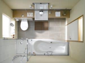 installation sanitaires compacte salle de bain 300x224 - Installer les sanitaires et les canalisations